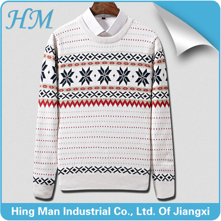 2016 fall newest high fashion men's jacquard crew neck pullover sweater