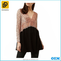 High Quality Women's Blouse Pink Lace Long Sleeve V-neck Dressy Tunic Tops With Wholesale Price