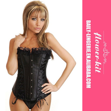 Women Sexy Black Stripes Satin Corset Bodysuit Lingerie