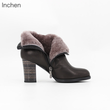 Genuine leather ankle boots sheepskin fur sheep's wool ladies winter boots zipper shoes women