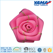 Best price party decoration polyester material flowers made ribbon