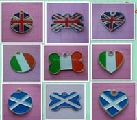 stamped metal flag bone / heart / round shape pet tags for uk / irish / scotland