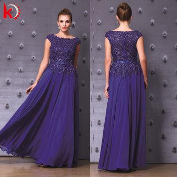 Elegant Chiffon Royal Blue Evening Dress 2015 Latest Design Formal