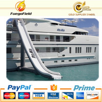 giant inflatable curved slide for yacht/inflatable floating water slide on sea