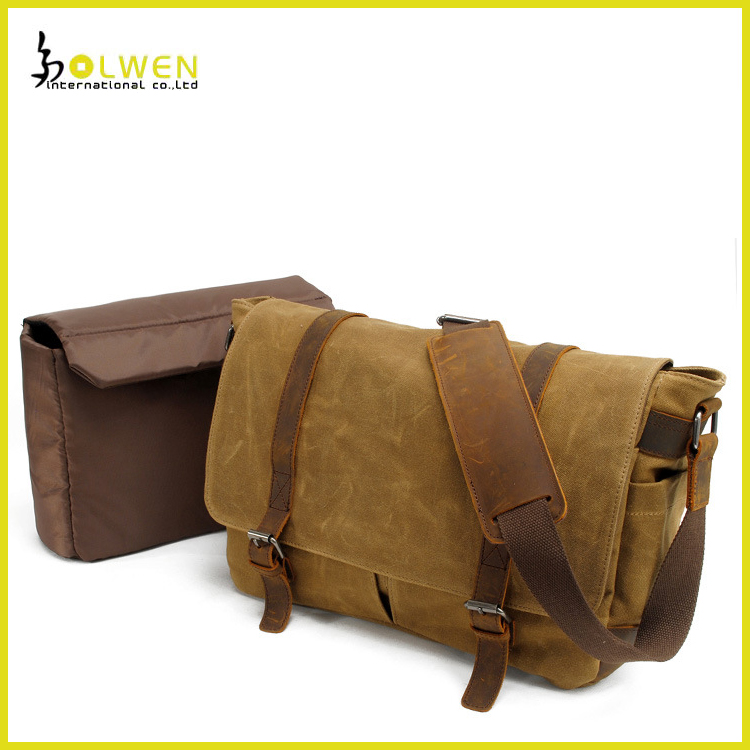 Messenger Bag Leather Canvas Shoulder Bookbag Laptop Bag + Dslr Slr Camera Canvas Shoulder Bag