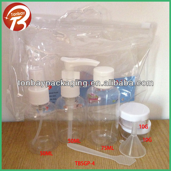 50ml 75ml and 10g PET empty travel bottle and jar set with plastic bagTBSGP-4