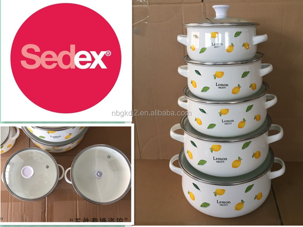 enamel casserole sets with tempered glass lid & enamel olla pot