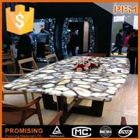 Club decoration natural stone frosted glass conference table top