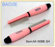 Single Sided Pin Pet Comb Pet Groomimg Products With Silica Gel Handle