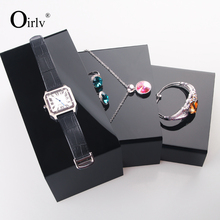 Oirlv U Letters Shape Acrylic Block Jewelry Display Stand Ring Necklace Watch Display Holder Shelf Set Bracelet Holder