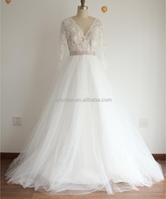 Sheer Ivory Lace Tulle V Neck Long Sleeves Wedding Dress with Beaded Belt