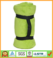 Green wholesale soft coral fleece blankets with carry handle