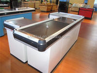 White Checkout Counter Cashier Counter with Stainless Steel Top Table and Conveyor Belt