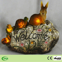 polyresin imitation stone animal statue led solar garden light ornament for home and garden decoration