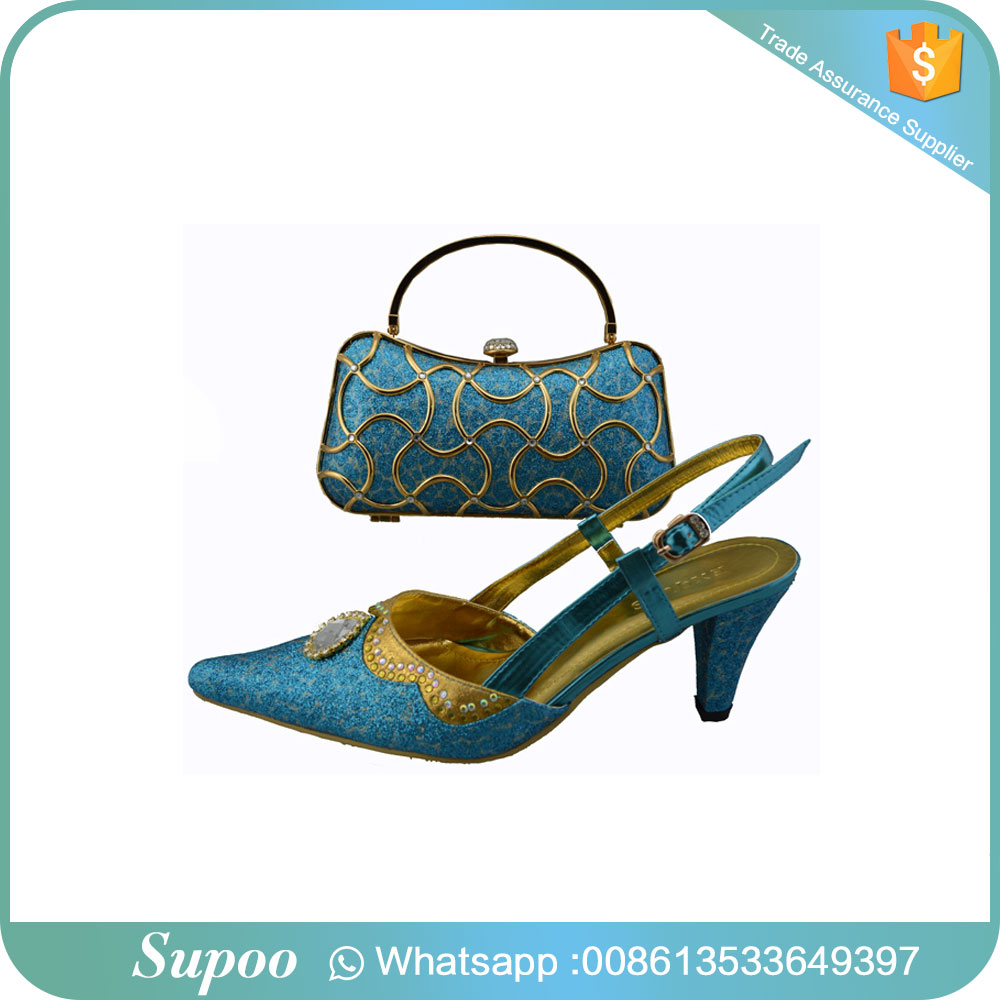 Newest african high heel shoes with beads lady handbag italian shoes and bag set
