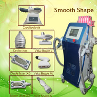6 in 1 SmoothShape Freeze lipo freze cavitation laser velashape salon equipment