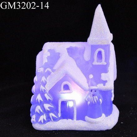 Hot sale mini blue snow house with led light changing as christmas gift