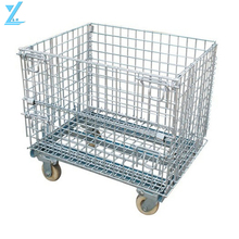 Wire Mesh Folding & Stackable Bulk Containers With Wheels