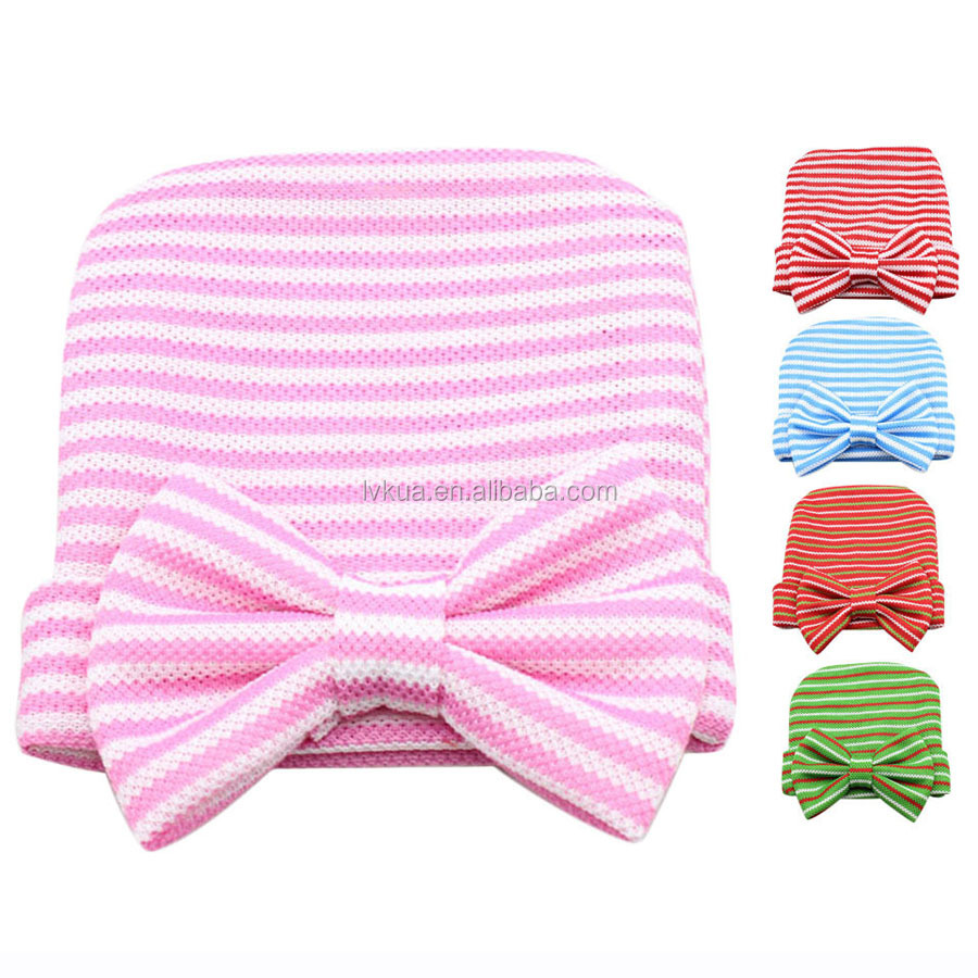 2016 Cute Comfortable Kid's Stripe Knitted Hat with Bowknot