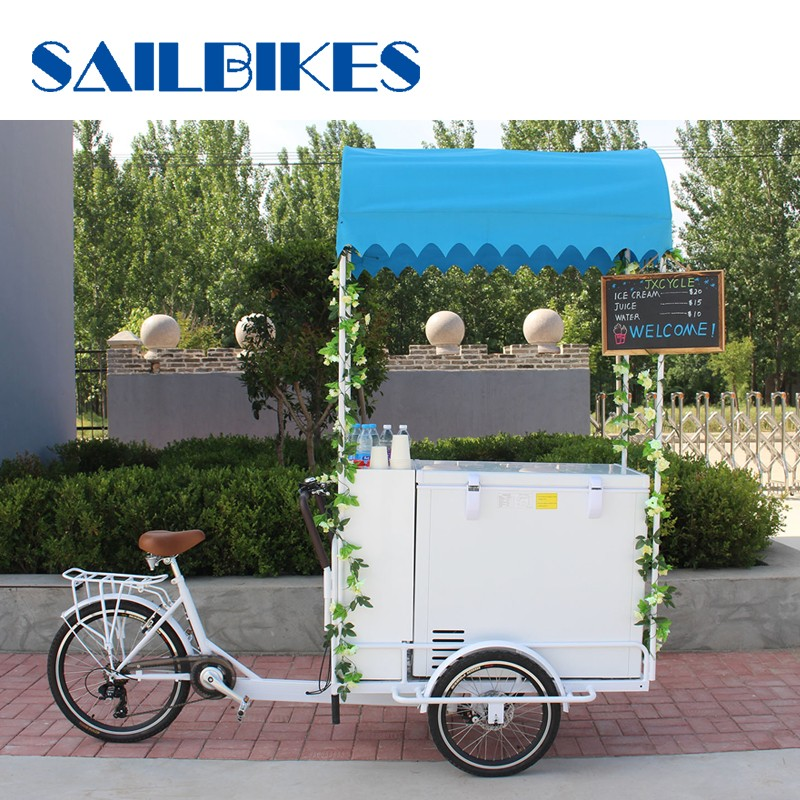 vending tricycle with ice cream freezer container