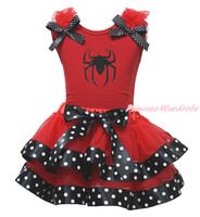 Halloween Spider Red Top Black Polka Dots Satin Trim Skirt Girl Outfit Set NB-8Y
