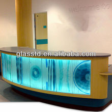 Contemporary glass office front desk counter