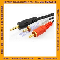 audio cable 3.5ST to 2RCA av cable 3.5mm stereo to 2rca cable