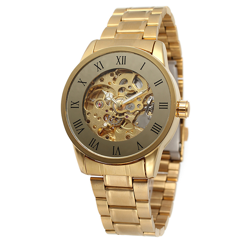 <strong>Hot</strong>!Skeleton Automatic Mechanical Watch Stainless Steel Leather Man Watch