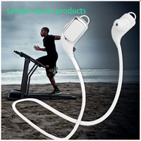 SPORTS ADJUSTABLE EAR CLIP EARPHONES HEADPHONES GYM JOGGING BLACK AND WHITE