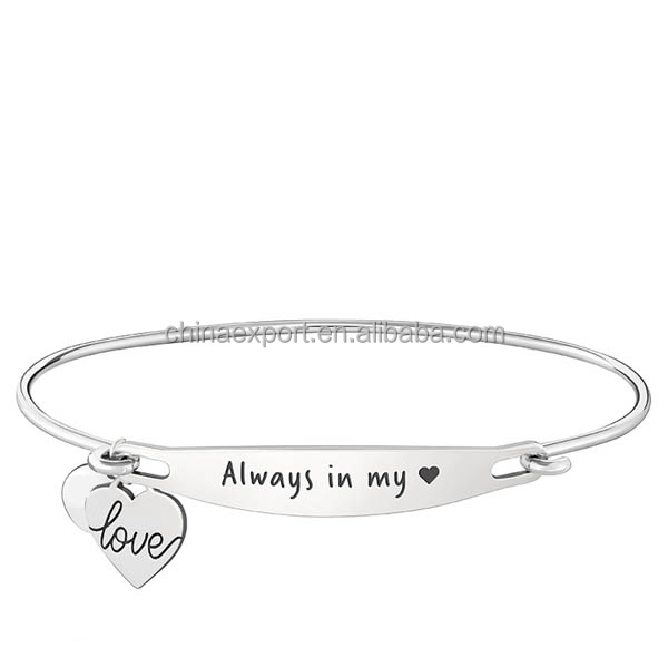 Stainless steel engraved medical ID bangle bracelets with heart charms