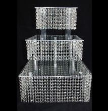 3 Tier Crystal Cake Stand Square Acrylic Cupcake stand Christmas Wedding Anniversary Birthday Supply Craft Party Display Tools