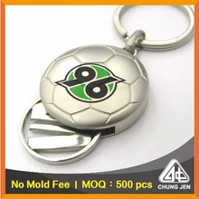 Promotional Custom Soccer Shape Supermarket Trolley Token Coin Keyring