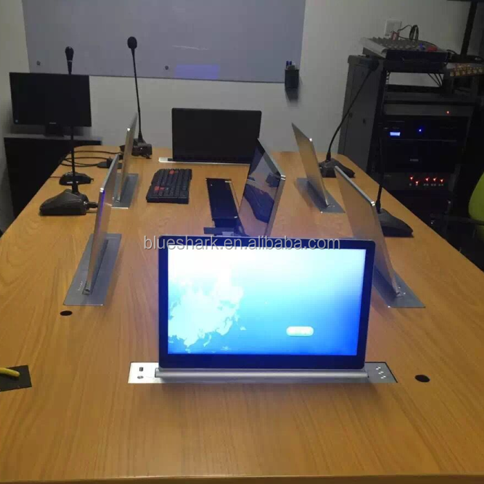 Ultra-thin motorized desk flip up lcd monitor for meeting room