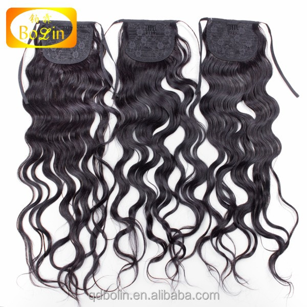 Wholesale cheap price Malaysian virgin remy human hair drawstring ponytail