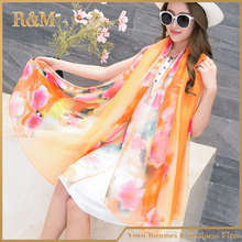 Manufacturer price good quality chiffon new gold blocking paisley scarf wholesale