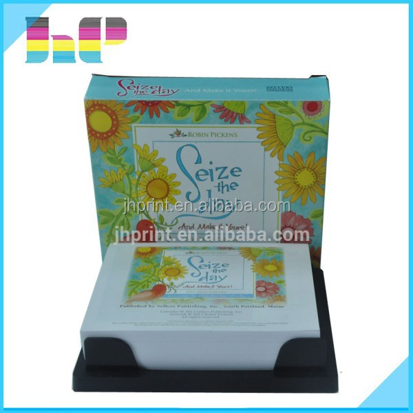 Chian factory full color Printing 365 daily calendars with plastic holder