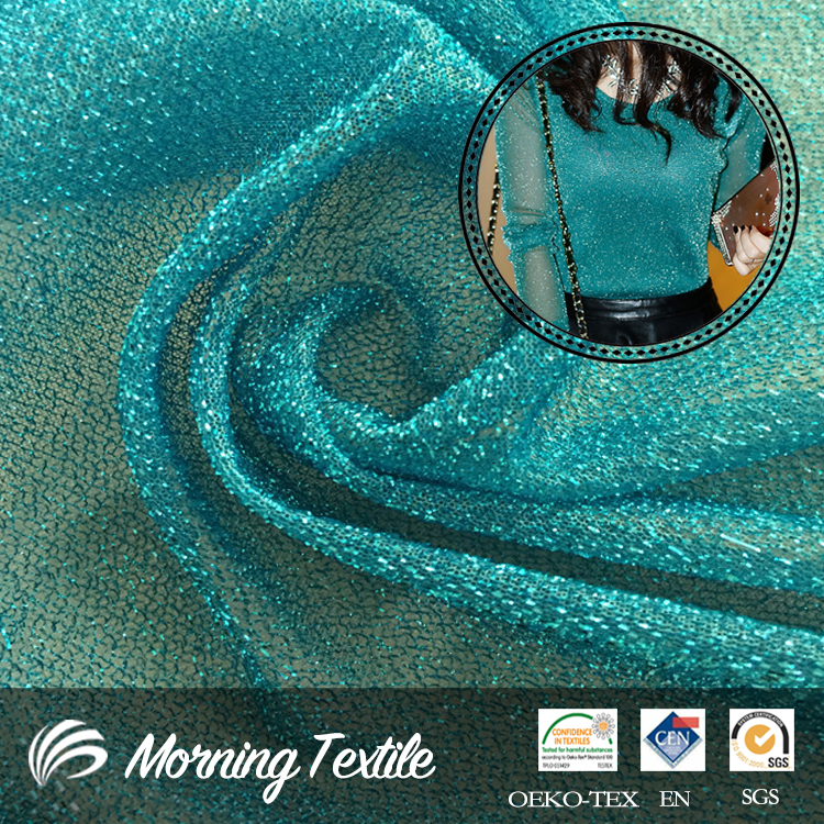 Polyester Lurex Metallic Tulle Lightweight Mesh Fabric For Clothing
