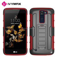 Silicone PC Shockproof holster combo case for LG /k8 kickstand phone covers