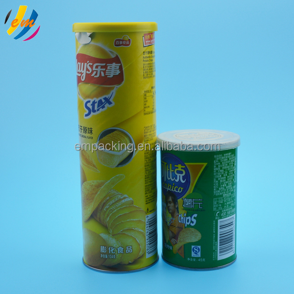 easy peel off food grade pringle potato chip packaging paper can