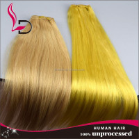 Women's fashion weft silk straight yellow colored synthetic hair