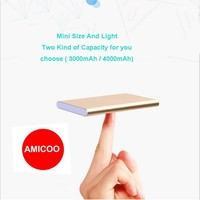 Thin Slim Power Bank 4000mah portable charger external Battery 3000mah mobile phone charger