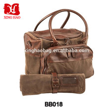 Customize leather match canvas water resist rolling tool bartender bag