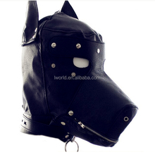 Animal design face mask sex toy full leather covered male sex toys