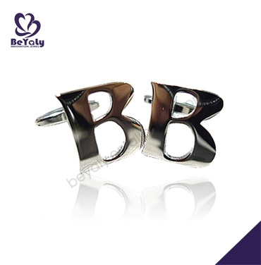 B letter design men wholesale Sterling Silver CuffLink