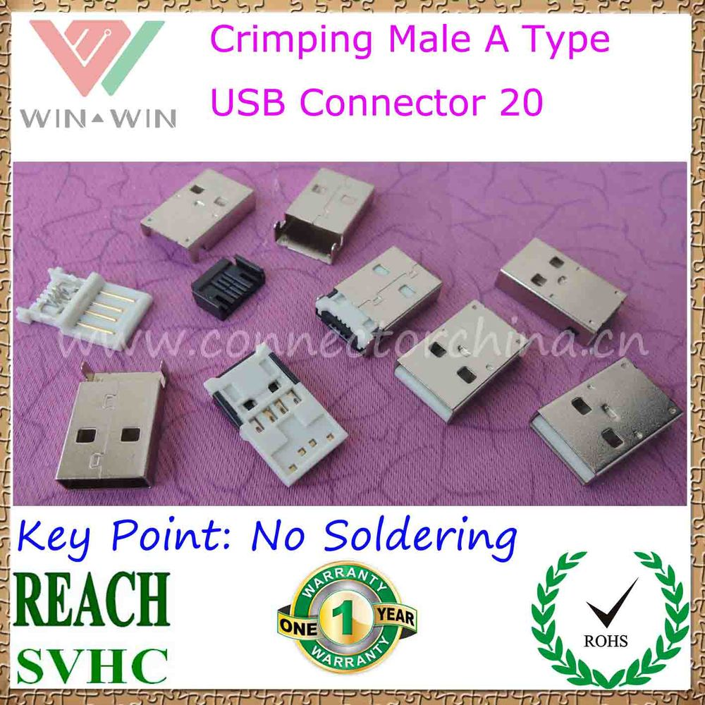 Great Sales Short Type Crimping Male A usb Connector 20