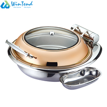 Round rose golden stainless steel buffet chafing dish for hotel