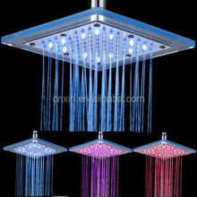 Rainfall Water temperature changing 3 color LED shower head square PMMA top spray shower no need battery LS-01