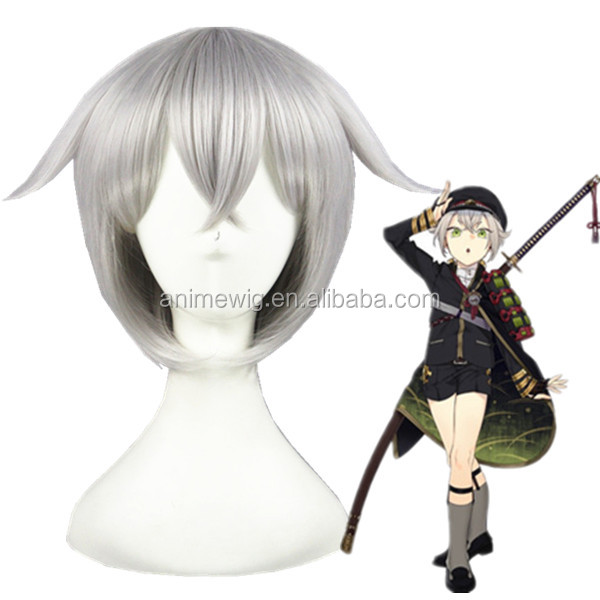 Anime cosplay Hotarumaru short 32cm Silvery Gray synthetic hair wig