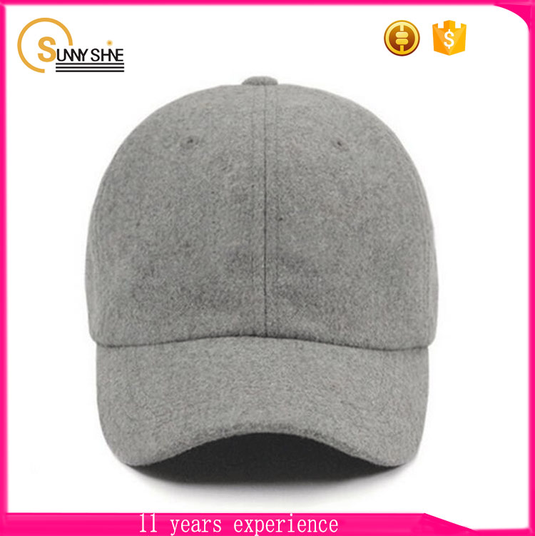 High Quality 100% Wool 6 Panel Baseball Cap Wholesale