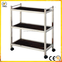 three layer hotel air restaurant and public place hand pushed hot pot car stainless steel trolley